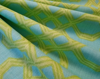 Lee Jofa LILLY PULITZER Well Connected 100% Linen Green/Aqua 2 3/8 Yards