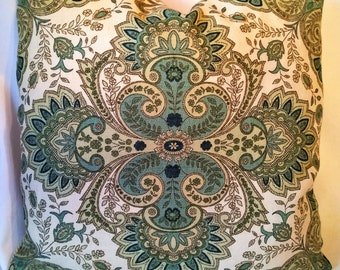 "Lee Jofa Italian Paisley Suzanne Rheinstein Custom Pillow 18""x18""Greens! English Linen"