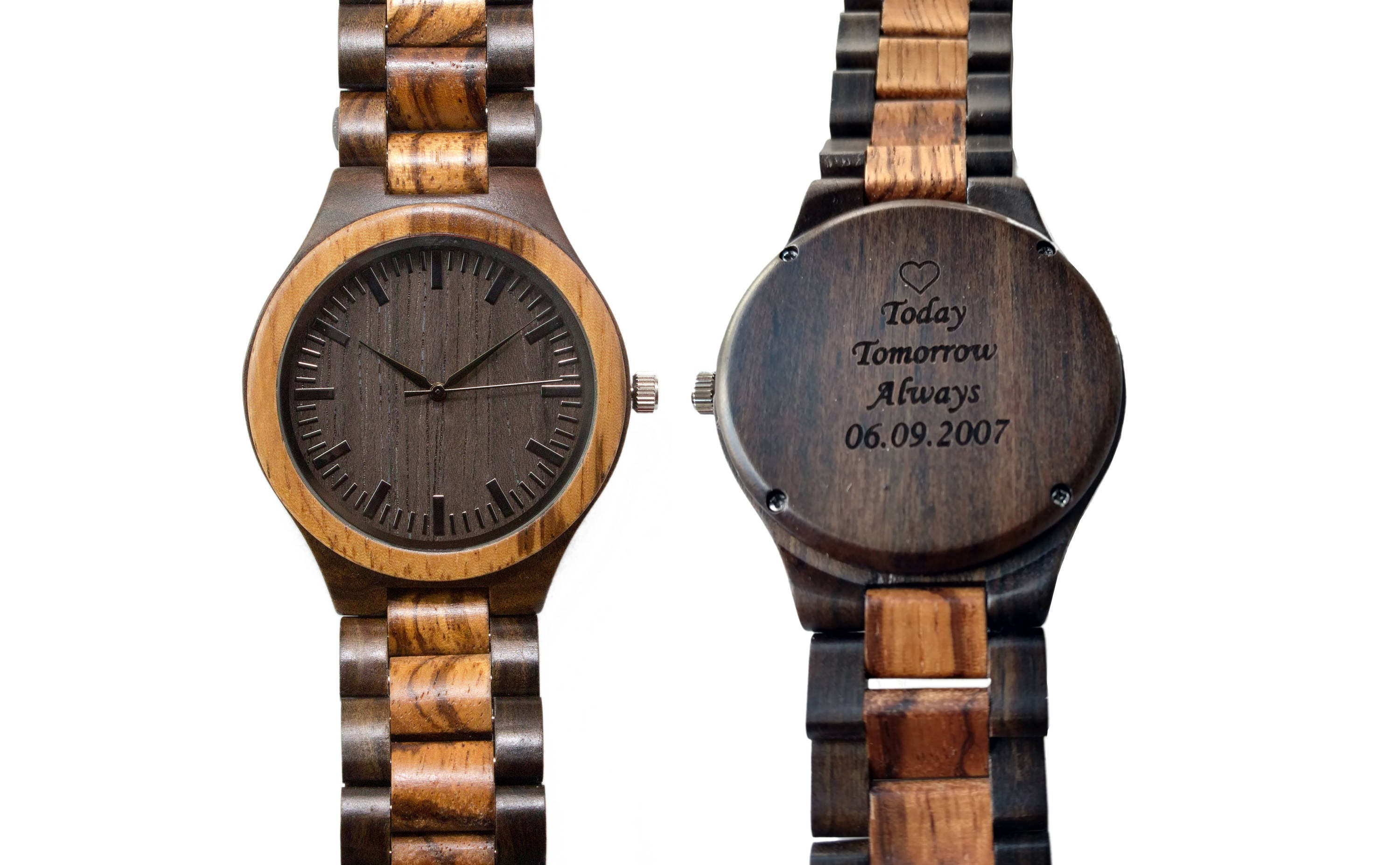 Fifth Wedding Anniversary Gifts For Men: Engraved Wood Watch Men 5th Anniversary Gift Personalized
