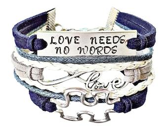 Autism Jewelry, Love Bracelet, Hope Bracelet, Infinity Bracelet, Hand Stamped Jewelry, Quote Bracelet, Autism Bracelet, Aspergers Jewelry