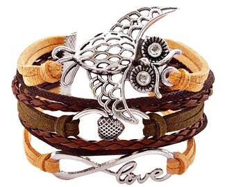 Love Bracelet, Infinity Bracelet, Owl Jewelry, Gifts for Her, Wife Gifts, Friendship Gift, Multi Layer Bracelet, Vegan Jewelry, Owl Gifts