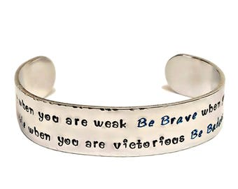 Be Strong Bracelet, Strength Bracelet, Badass Bracelet, Message Bracelet, Inspirational Jewelry, Hand Stamped Jewelry, Cuff Bracelet