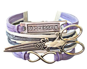 Cosmetologist Gift, Hair Stylist Jewelry, Hairdresser Gift, Stylist Jewelry, Scissor Bracelet, Word Bracelet, Infinity Bracelet, Salon Gifts
