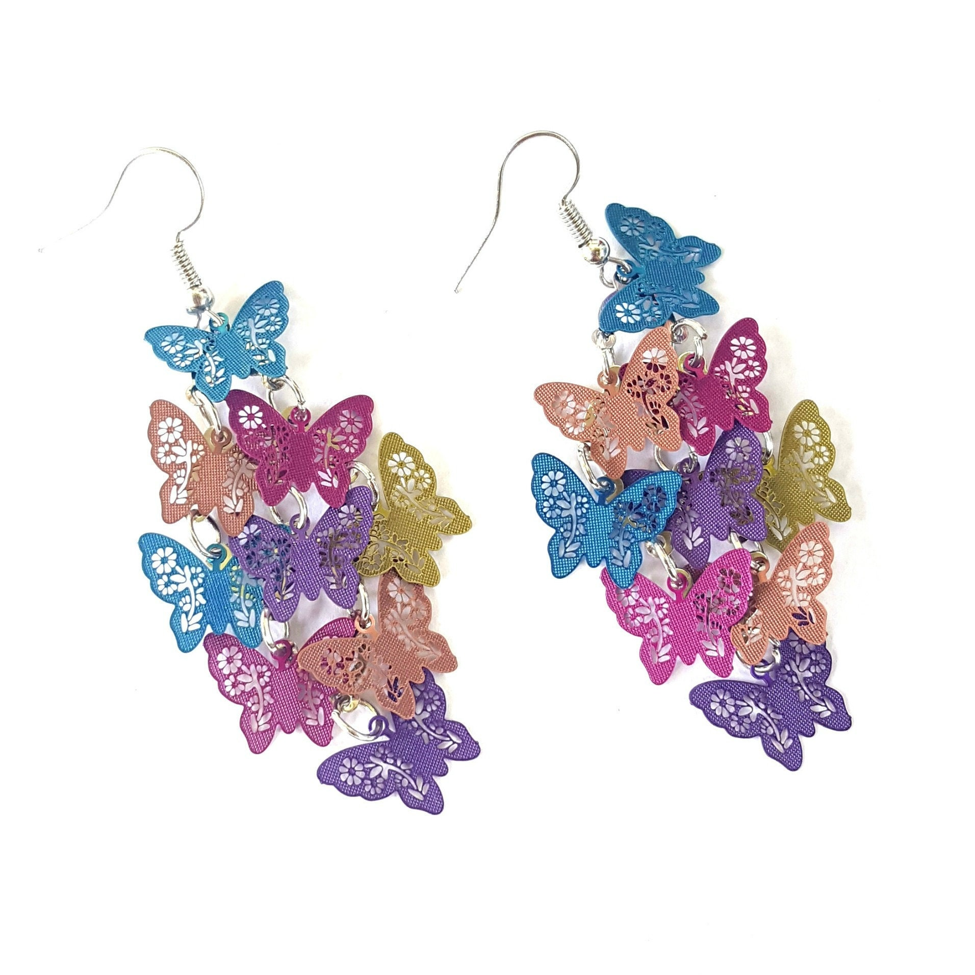 Spring Double Pastel Butterfly Drop Earringsspring earringsbutterfly earringsdangle earringspastel earringsspring collection