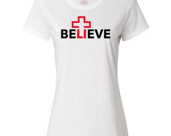Red Cross Believe Christian Women's T-Shirt by Inkastic