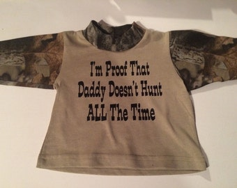 Camo baby shirt! Comes in 4 diff sizes! For the little hunter in your life