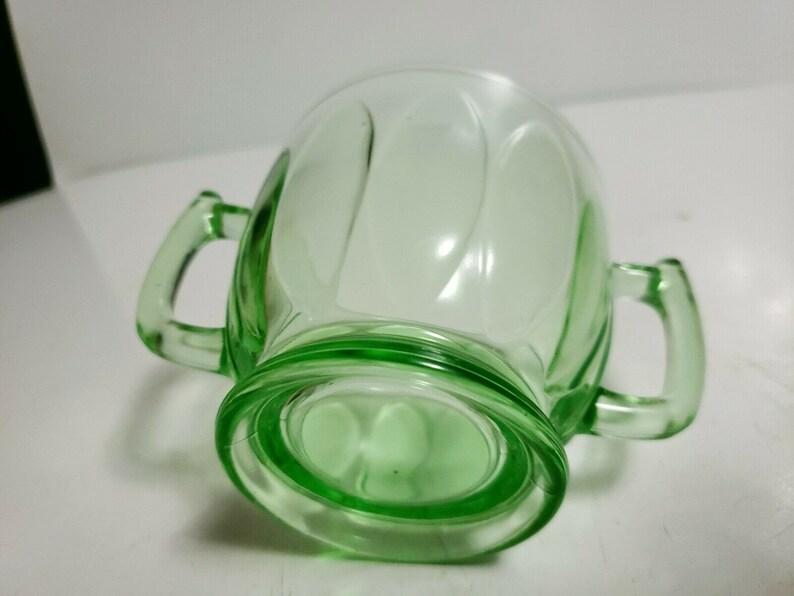Vintage Green Depression Glass Bartlett Collins Twitch ELLIPSE Sheraton Double Handled Open Sugar Bowl ca 1930s