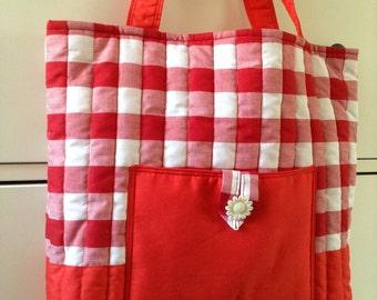Handmade Handbag, Picnic Handbag, Check Red Handbag