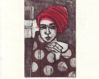 original Figurative etching ('Lunar Gown')