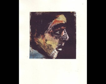 Drypoint monoprint of a face