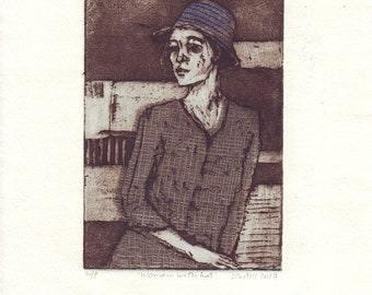 Original figurative etching (Woman with hat)