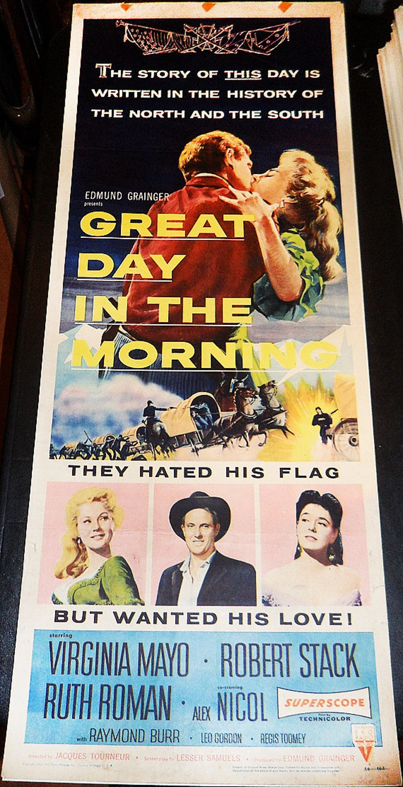 Great Day In The Morning insert size film poster! /'56 Virginia Mayo Robert Stack Western classic original U.S