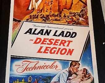 Dessert Legion! 1953 original Alan Ladd classic adventure insert size film poster!