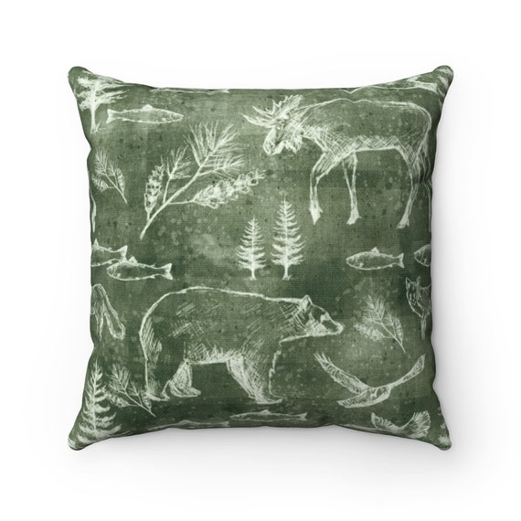 Forest Green Woodland Pillow Rustic Cabin Decor Mountain Etsy