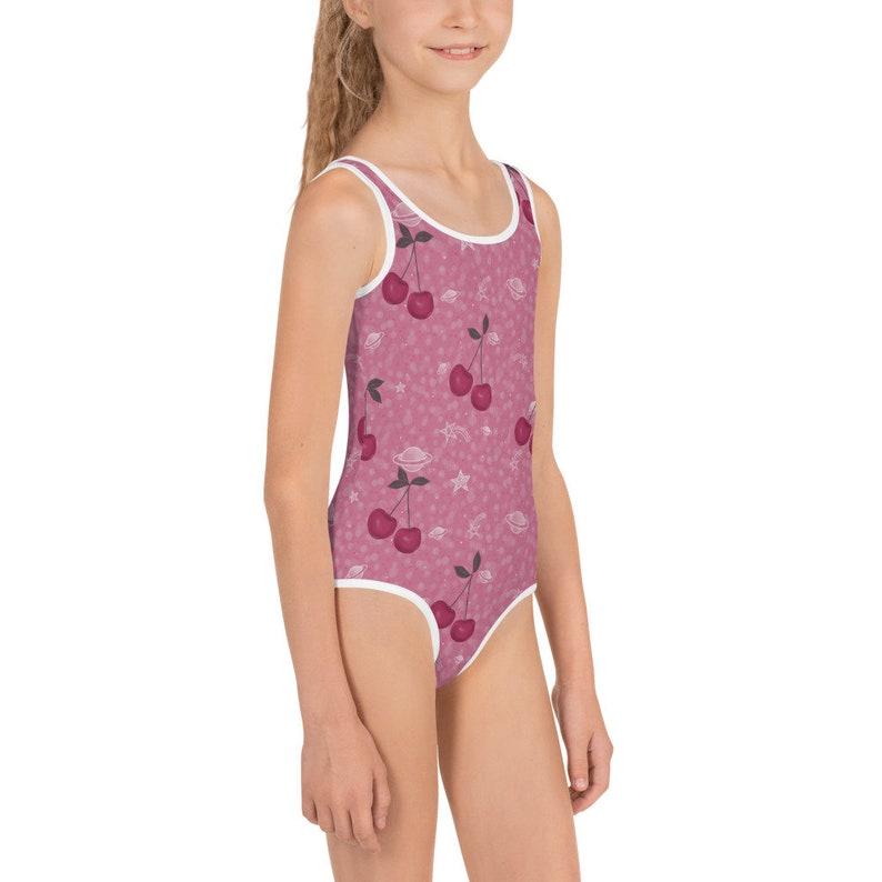 Cherry Pink Saturn Star Girls Swimsuit Beachwear KidsKim Marshall Studio