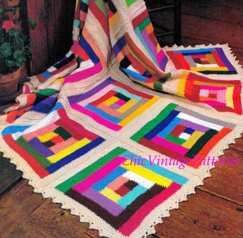Crochet Afghan Rug ... Vintage Log Cabin Rug ... PDF
