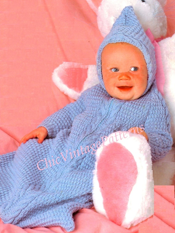 BABIES COSY SLEEPING BAG VINTAGE 1970s CROCHET PATTERN FOR BABY EASY// CHUNKY