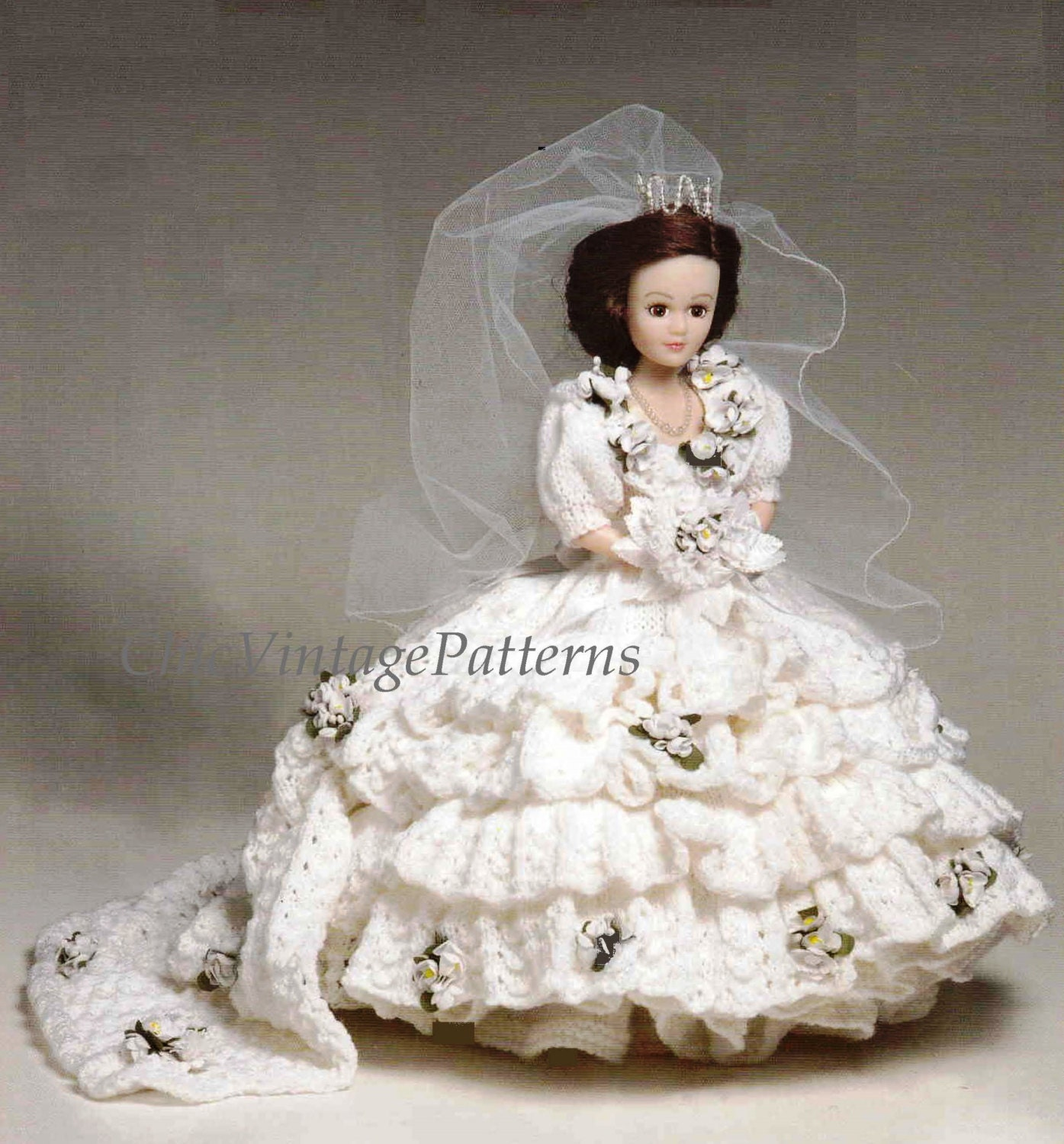 Knitted Doll\'s Wedding Dress ... Doll\'s Bridal Gown ... Vintage PDF ...