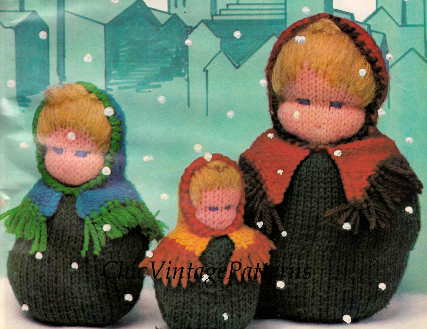 Baba Dolls ... Three Knitted Dolls ... Instant Download ... Russian ...