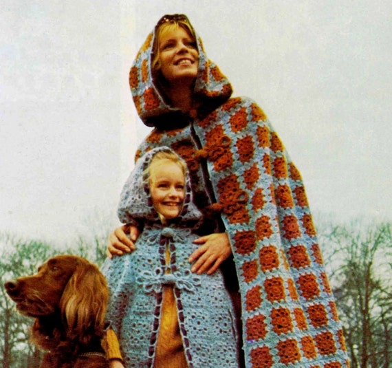 Crochet Cloak Pattern Ladies And Childs Cloak Etsy
