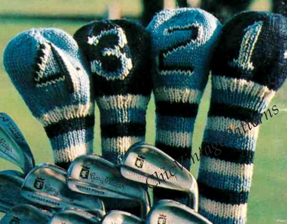 Knitted Golf Club Covers Super Gift For A Golfer Etsy