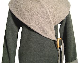 Fleece Wrap Jacket Moss
