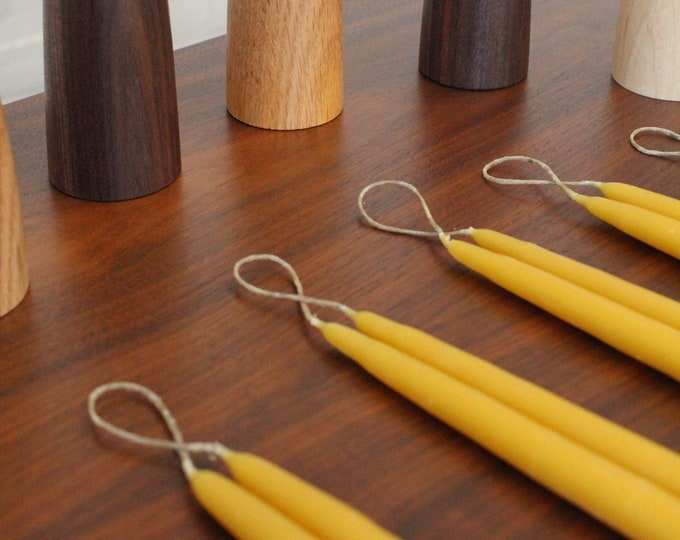 Hand-dipped Tapered Beeswax Candles