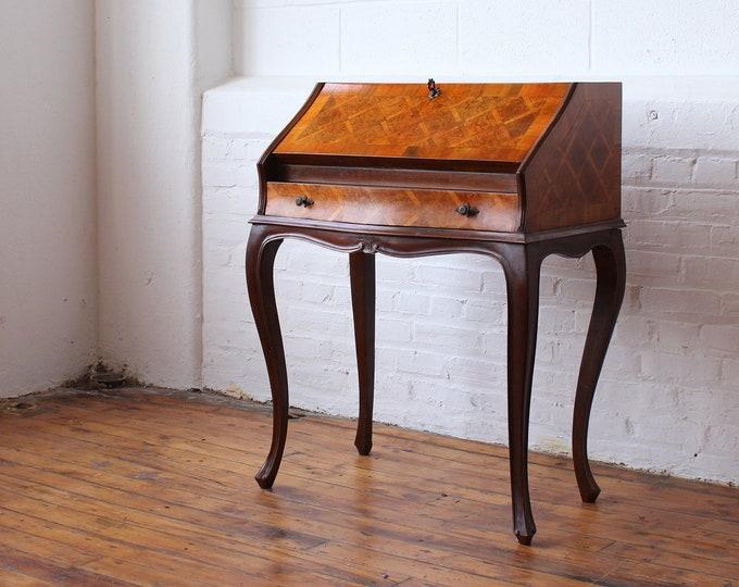 Vintage Italian Marquetry Secretary Desk