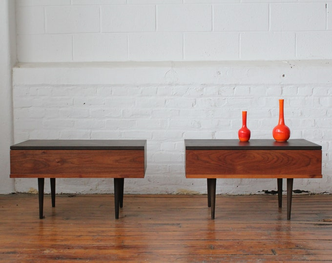 Pair of Ebonized Walnut End Tables