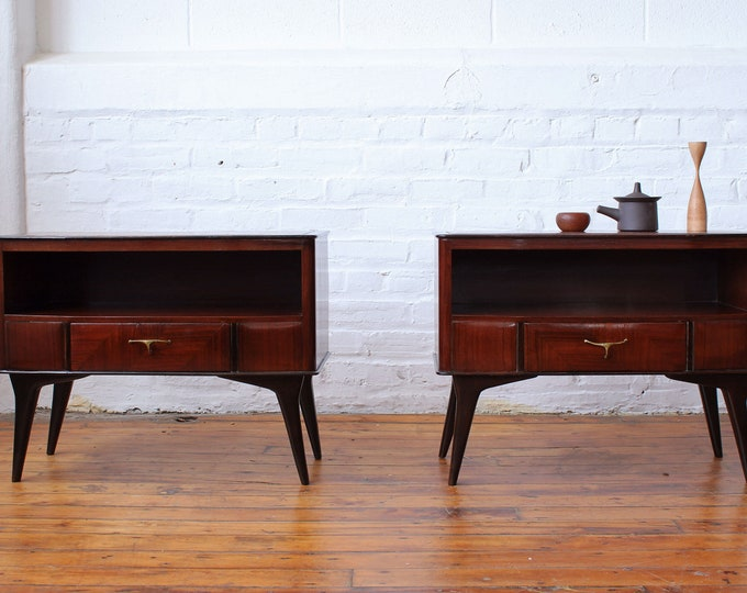 Pair of Italian Modern Teak Nightstands