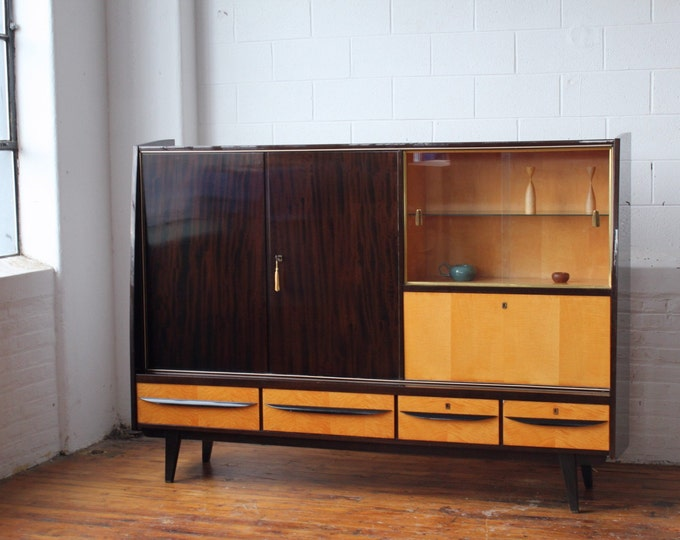 West German Free Standing Wall Unit with a Drop Front Bar