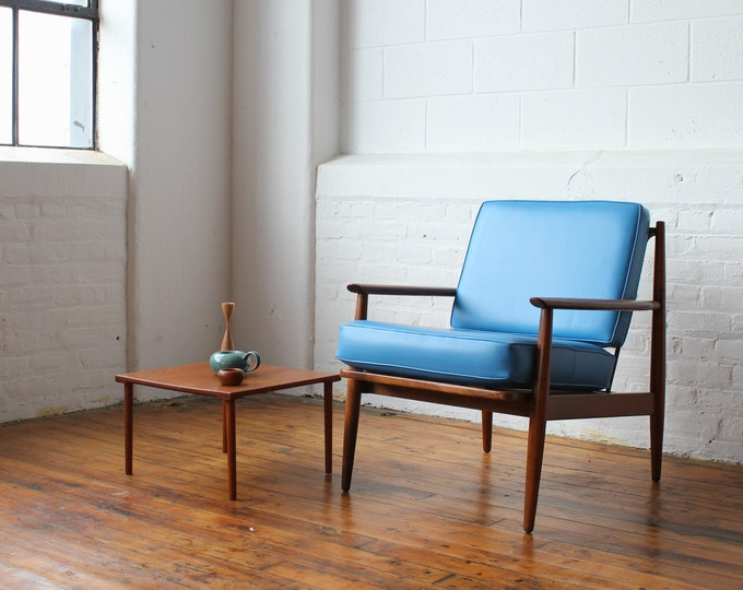 Restored Baumritter Lounge Chair with Blue Vinyl Cushions