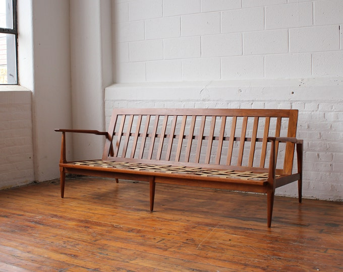 Restored Mid Century Modern Walnut Sofa Frame