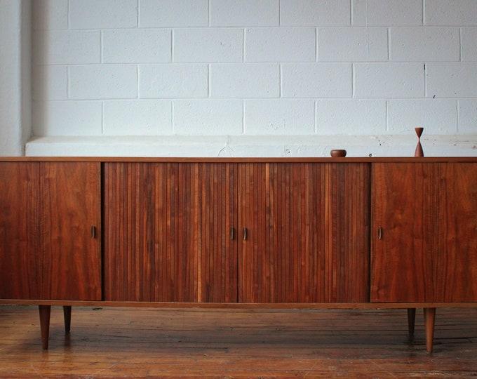 Restored Mid Century Modern Tambour Door Walnut Credenza