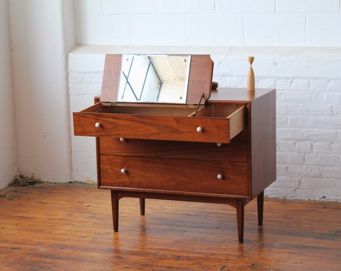 Drexel Declaration Walnut Bachelor Chest with Pull-Out Vanity by Kipp Stewart and Stewart MacDougal