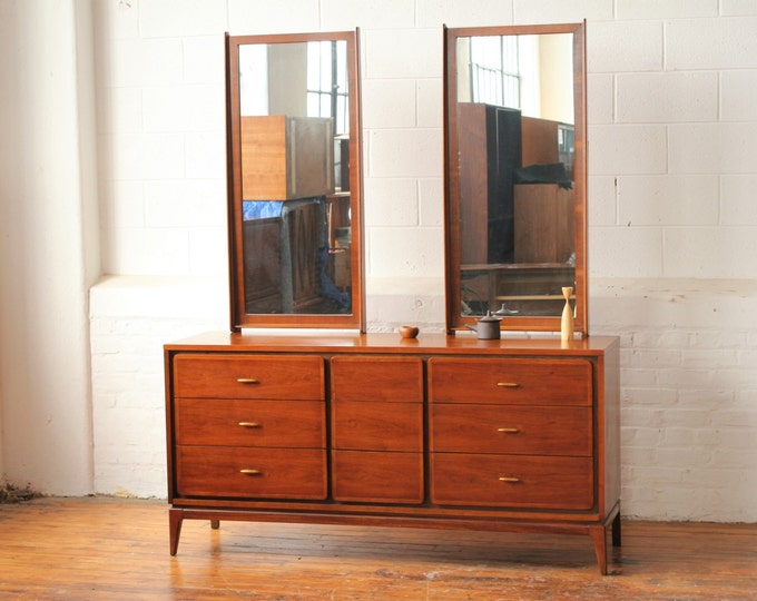 "Kent Coffey ""Simplex"" Triple Dresser with Dual Mirrors"