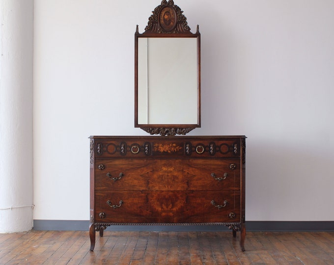 Restored Victorian Walnut Bureau with Floating Mirror, by Johnson Furniture Co. of Michigan