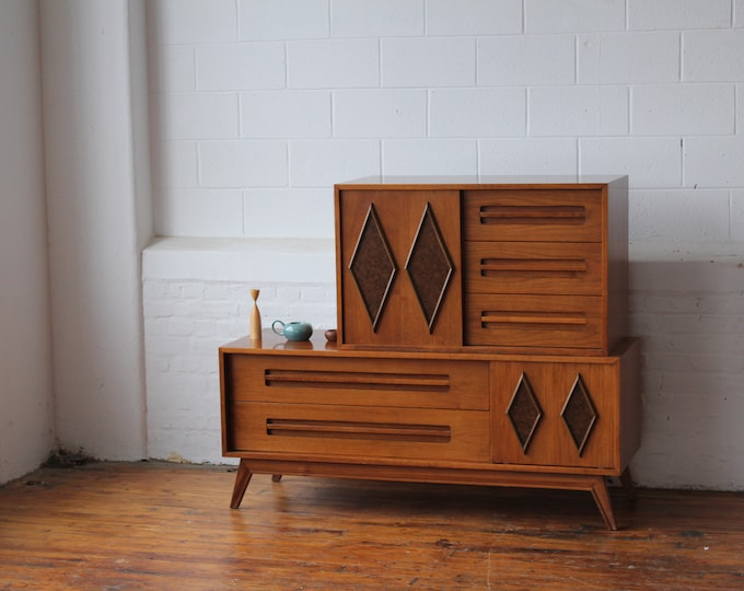 2 Piece Mid Century Modern Walnut Credenza with Diamond-Patterned Sliding Doors