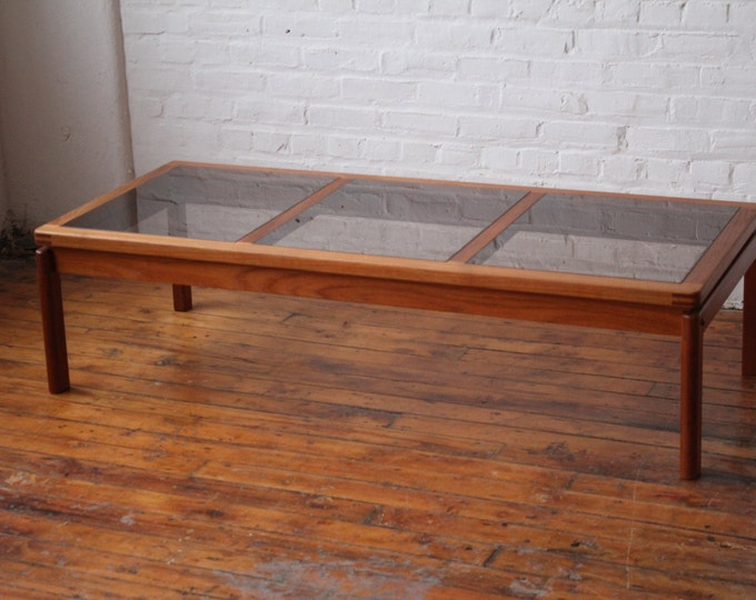 Restored Danish Solid Teak Coffee Table with Smoked Glass Panels