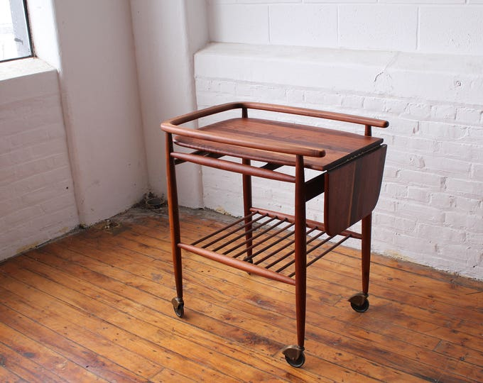"Restored ""Boomerang"" Solid Walnut Bar Cart"