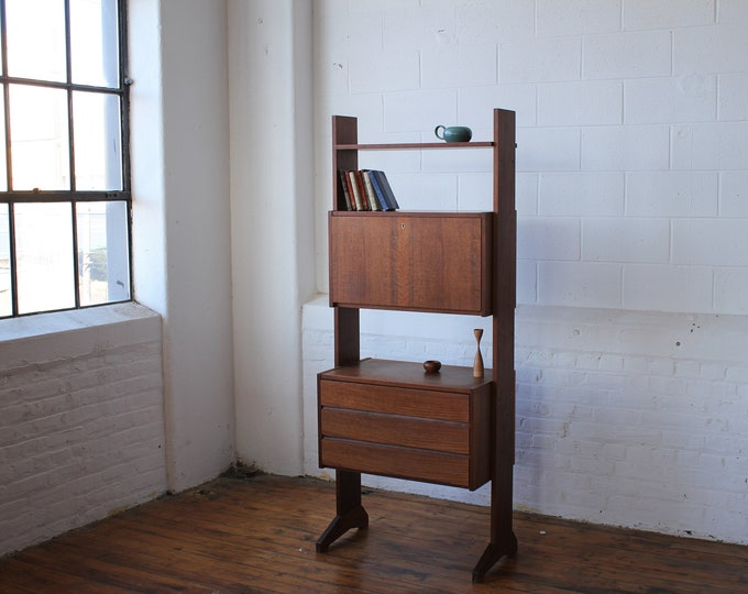 MCM Walnut Free-Standing Modular Wall Unit with Dropfront Bookcase and Drawers