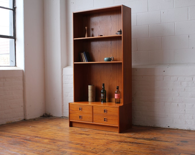 Danish Teak Wall Unit with Drawer Bay