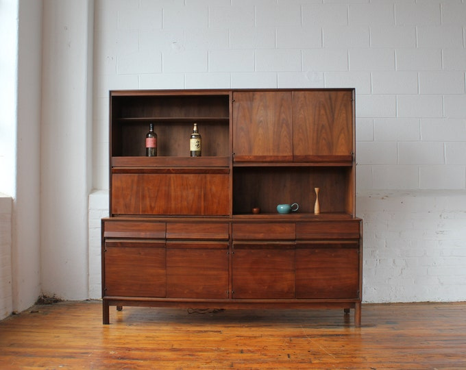 American of Martinsville Walnut Credenza and Bar Hutch with Rosewood Handles