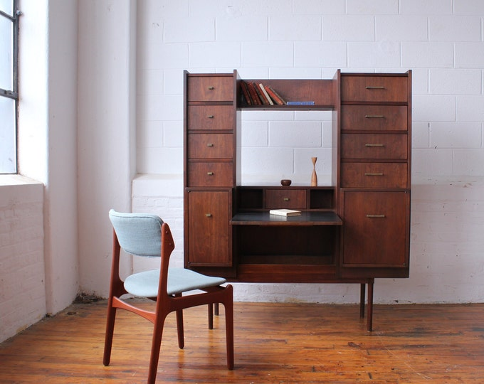 Free Standing Walnut Home Office and Wall Unit