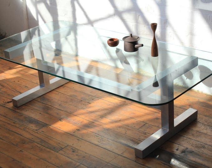 Aluminum and Glass Brutalist Coffee Table