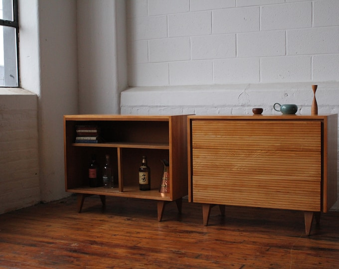Restored Mid Century Pair of Solid Elm Cabinets