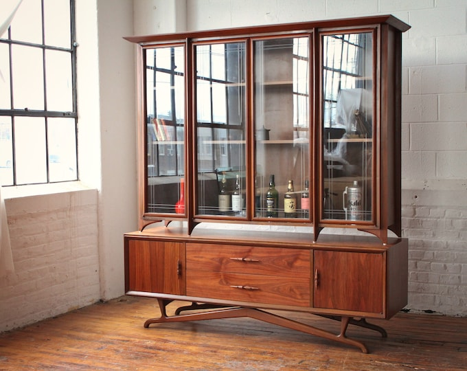 On Hold Restored Two-Piece Architectural Walnut Credenza and Floating Hutch with Sculpted Walnut Pulls