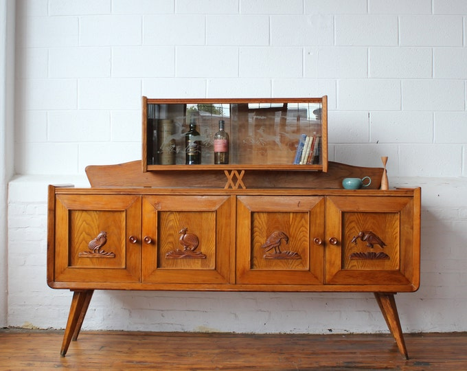 Italian Modern Teak Credenza with Floating Hutch and Carved Pictograms