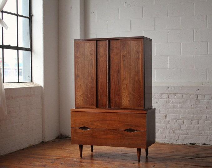 Restored Mid Century Modern Walnut Armoire by American of Martinsville