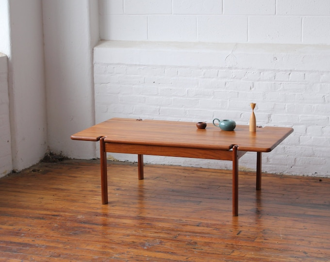 Restored Danish Solid Teak Coffee Table with Exposed Legs